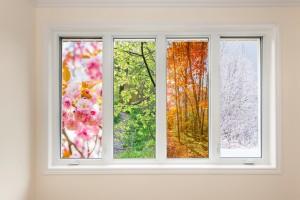 Window view of four seasons