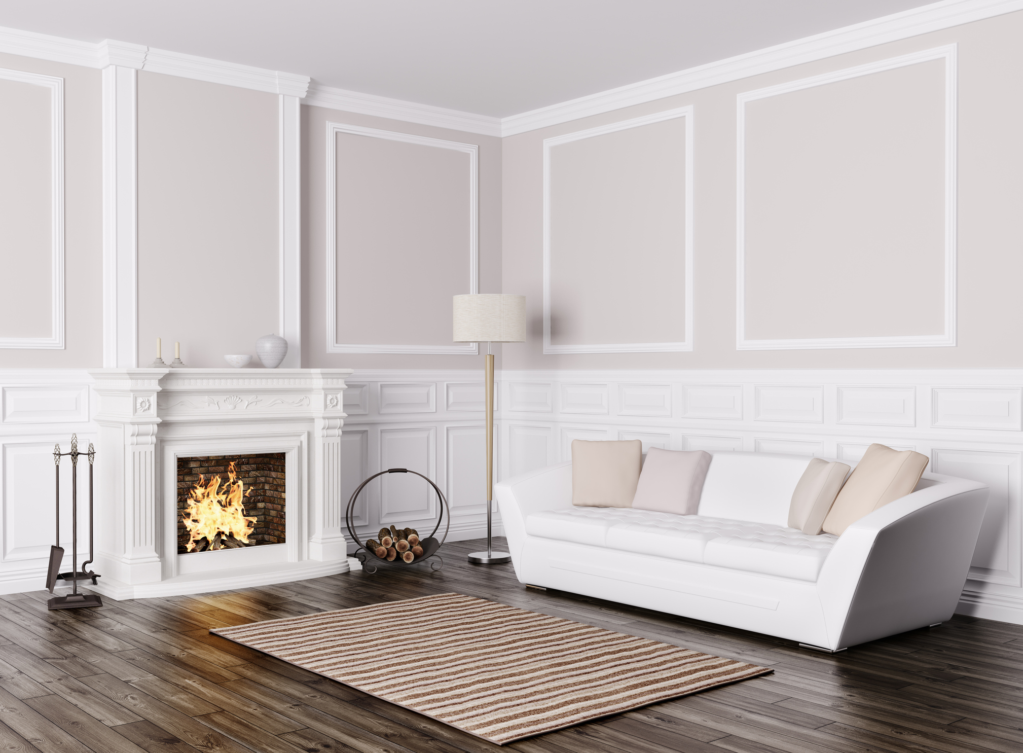 Interior of living room with sofa and fireplace 3d render