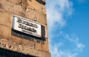 Byres Road sign in Glasgow's West End