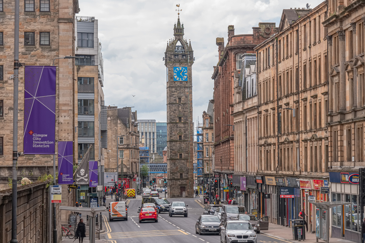 The impressive architecture of the old Tollbooth Steeple and Clock High Street Glasgow