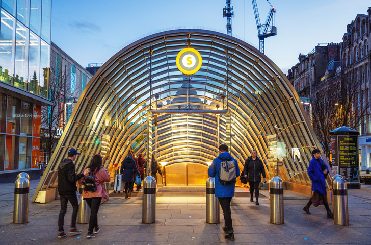 Entrance to St. Enoch subway station in Glasgow