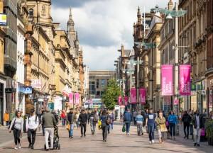 People on Buchanan Street in Glasgow
